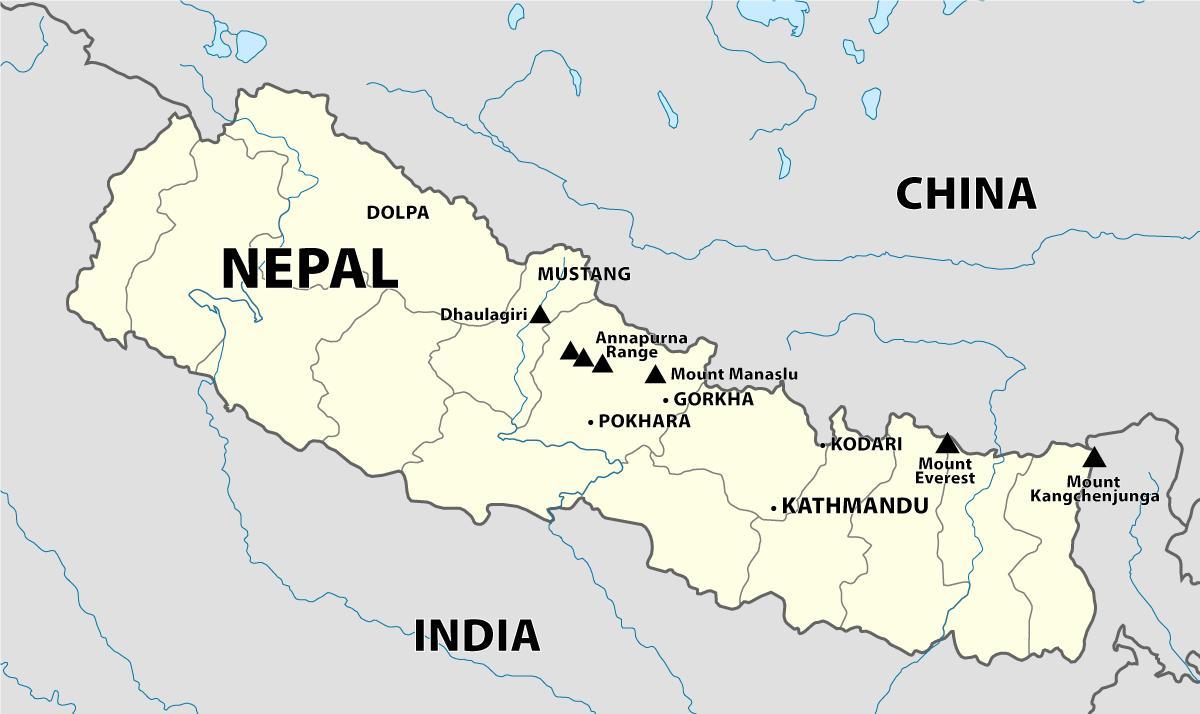 Himalaya Berge Karte.Nepal Himalaya Karte Karte Von Nepal Himalaya Sud Asien