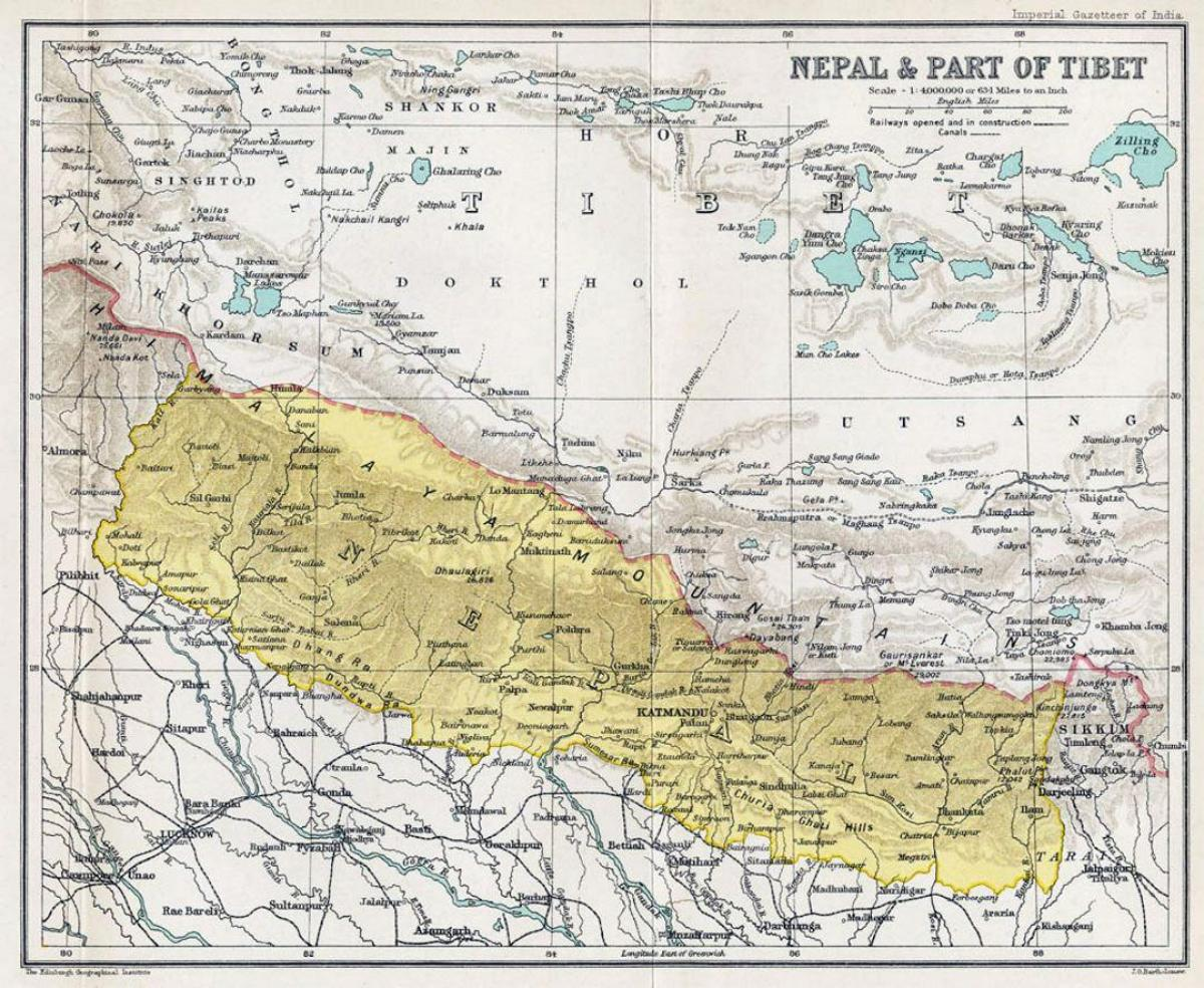 Nepal Karte Asien.Alt Nepal Karte Nepal Karte Alt Sud Asien Asia